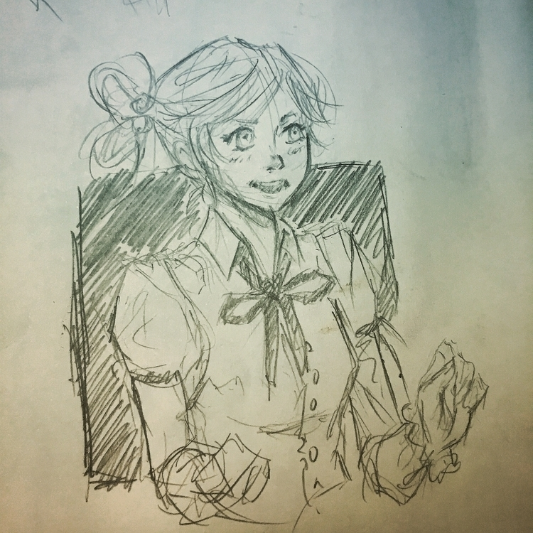 random girl sketch - waitress, kawaii - netocanessa   ello