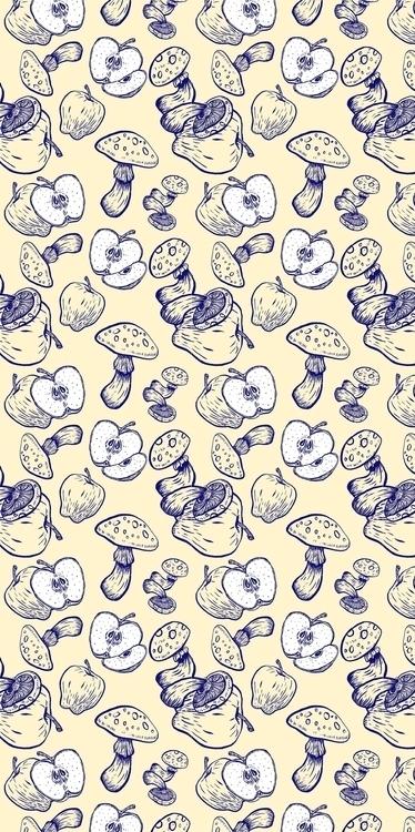 Apple, mushroom, pattern, patterndesign - kaytiespellz | ello