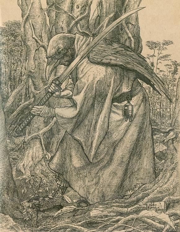 Tengu - illustration, drawing, birdheaded - ticklemecthulhu   ello