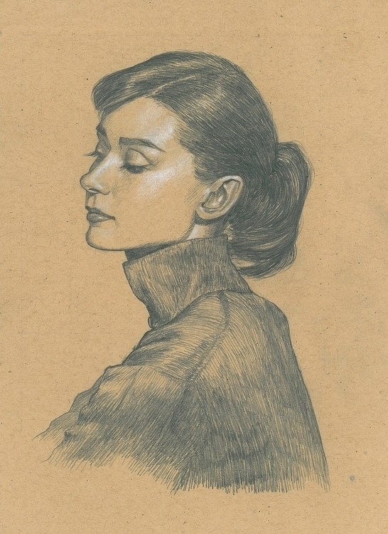 Audrey Hepburn - drawing, portrait - ticklemecthulhu | ello