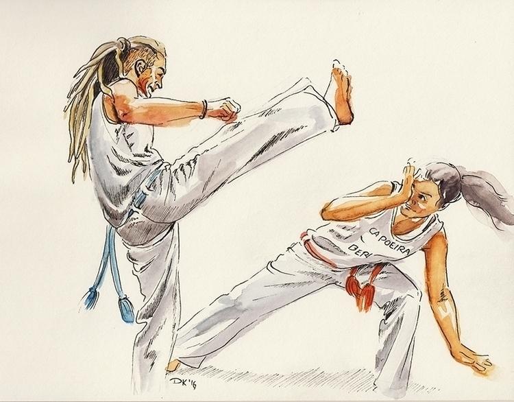 playing capoeira na roda II - watercolor - dannyknebel   ello