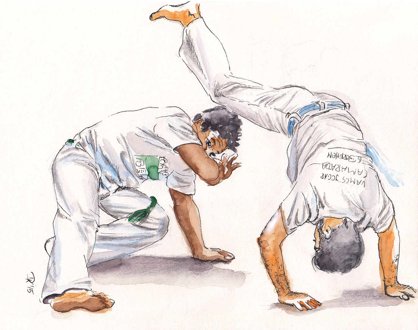 capoeira moves na roda - watercolor - dannyknebel | ello