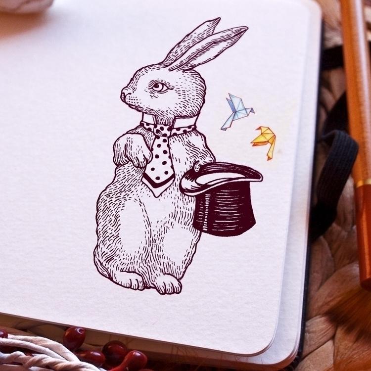 rabbit magician hand-drawing - handdrawn - zizilka | ello