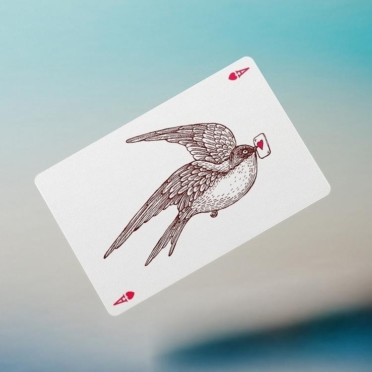 swallow - bird, playingcards, graphic - zizilka | ello