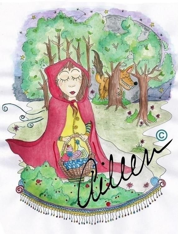 Caperucita Roja - watercolor, illustration - aileencopyright | ello