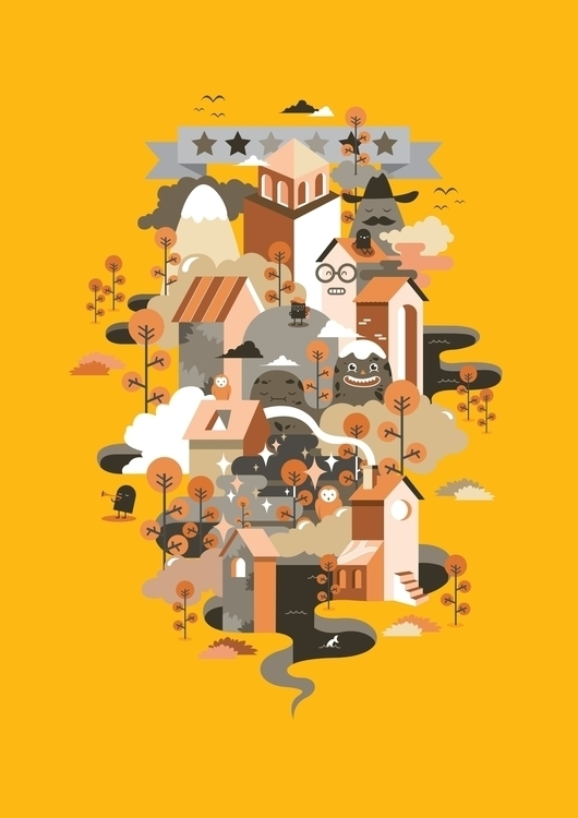 village - vector, illustration, design - ozyero | ello