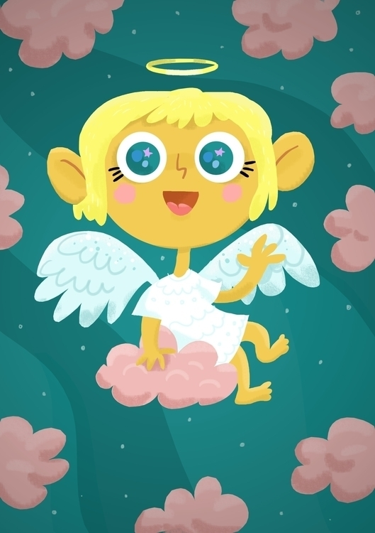 angel pink cloud - illustration - sonyagorya | ello