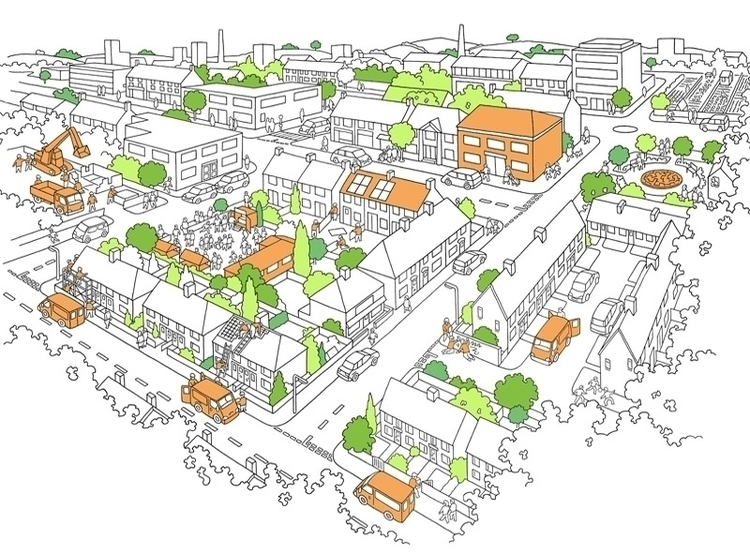 Aerial map town - illustration, aerialview - ianrward | ello