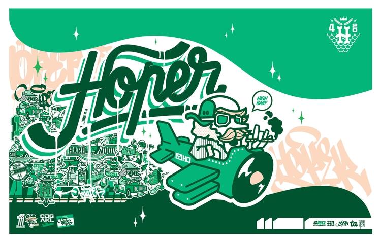 Green poster - illustration, characterdesign - hoper420   ello