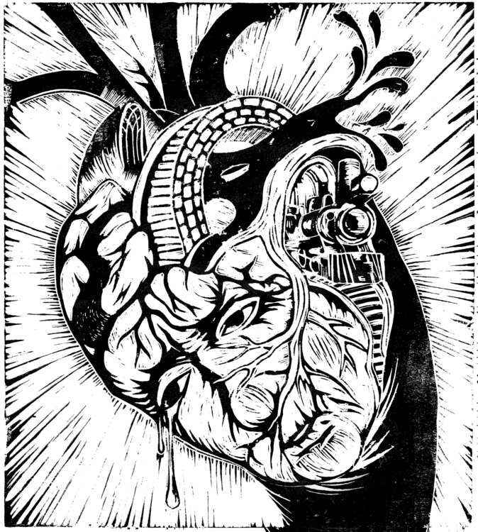 Heart - linocut, linoleumprint, lino - neuneu | ello