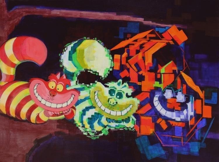 Cheshire Cats - painting, aliceinwonderland - mab-3070 | ello