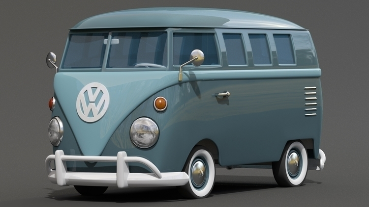 Cartoon styled retro VW Bus - volkswagen - kevinh-6431 | ello