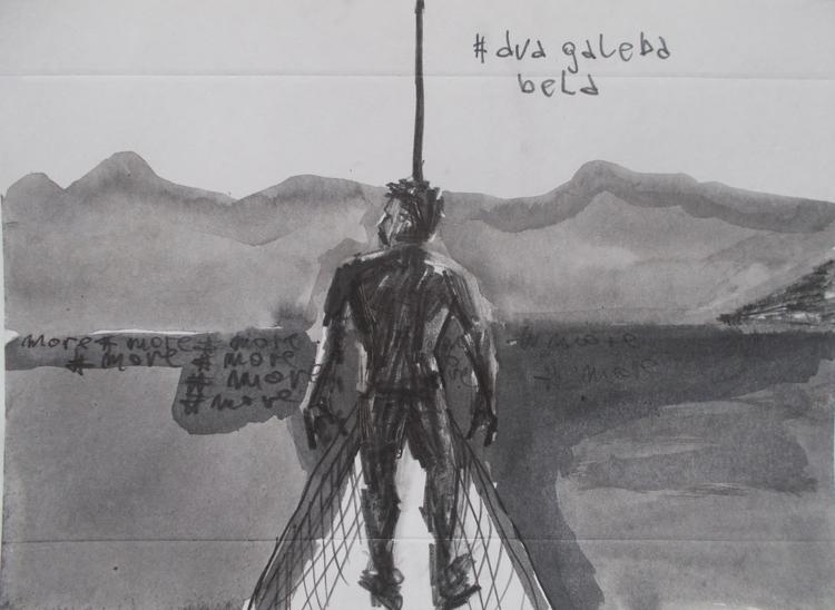 ,,Dva galeba bela''; grafit tuš - ivanmitic | ello