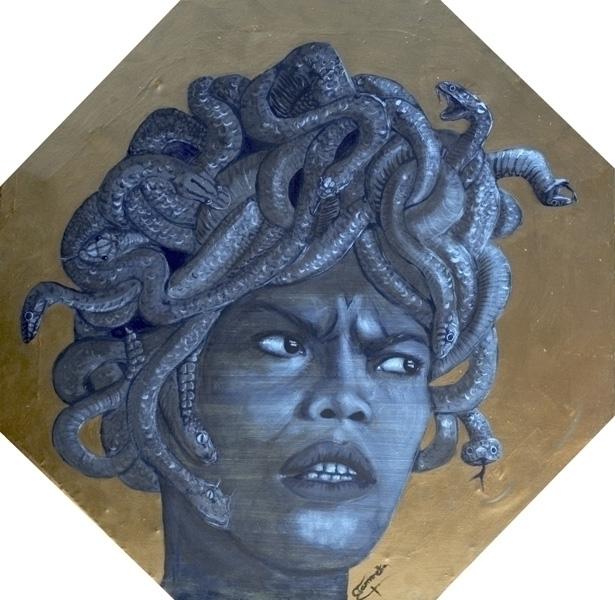 Medusa optagonal handmade canva - tizianagiammetta | ello
