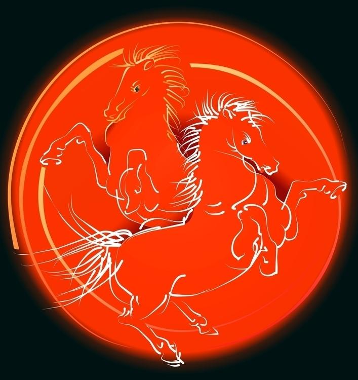 Red horses - illustration, vector - hanna-1284 | ello