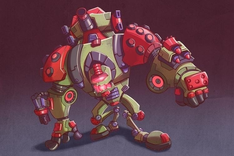 walking tank - illustration, characterdesign - michelverdu | ello