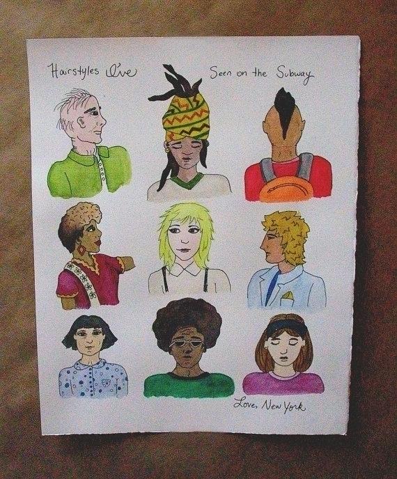 Hairstyles Subway, original art - nancydraws | ello