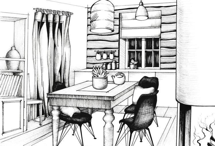 illustration, interior, ink, graphic - hanna-1284 | ello