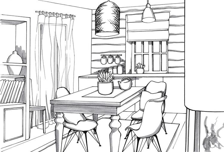 illustration, interior, ink, penink - hanna-1284 | ello