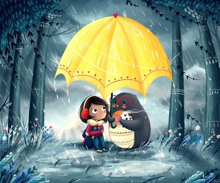 Rainy Day Friend - umbrella, penguin - illustratelucy | ello