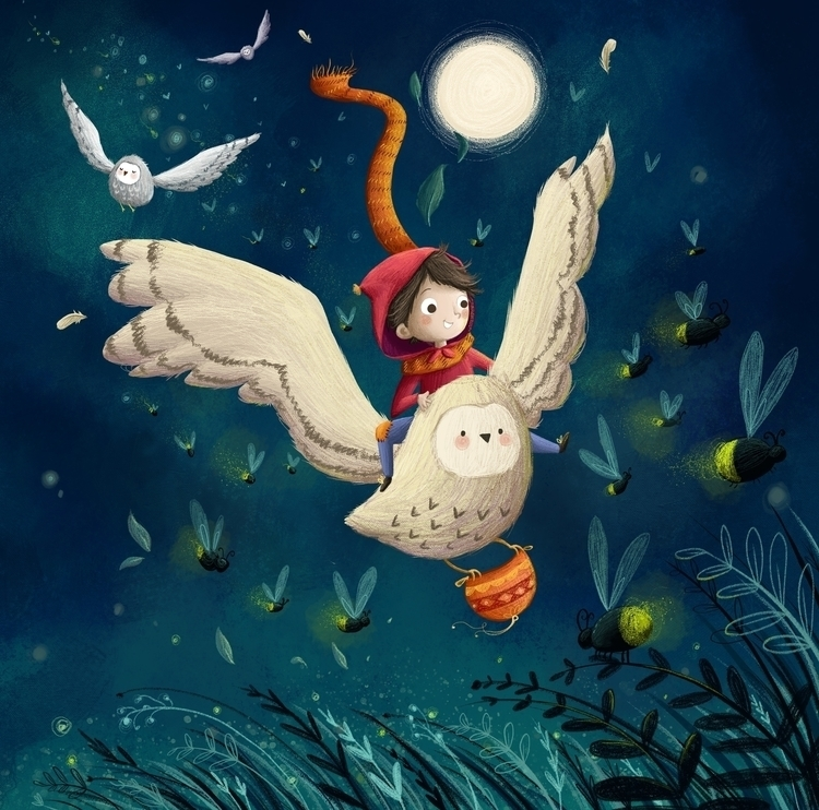 journey guided fireflies - illustration - illustratelucy | ello