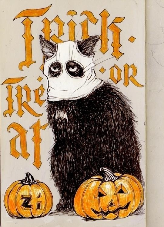 halloween cat - sketch, sketchbook - zizilka | ello