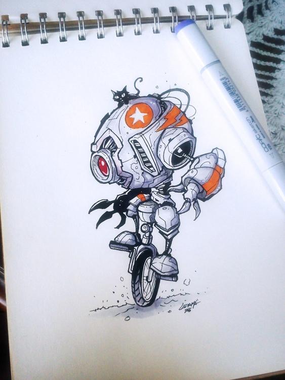 Robot Cycle - sketch, robot, traditional - adhityazul-2567 | ello