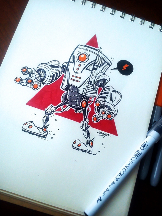 kaboom - sketch, robot, traditional - adhityazul-2567 | ello