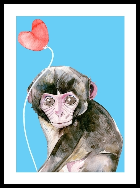 Infant monkey - illustration, painting - sianjordan | ello