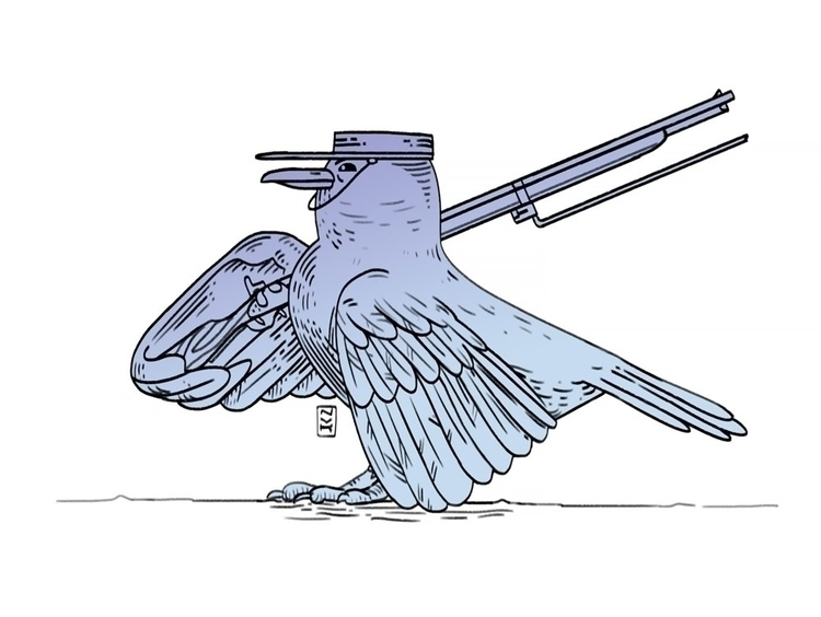 Soldier bird - illustration, drawing - foxhideblog | ello