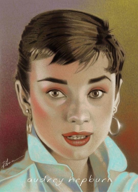 rendering young Audrey Hepburn - dwrobins2000 | ello