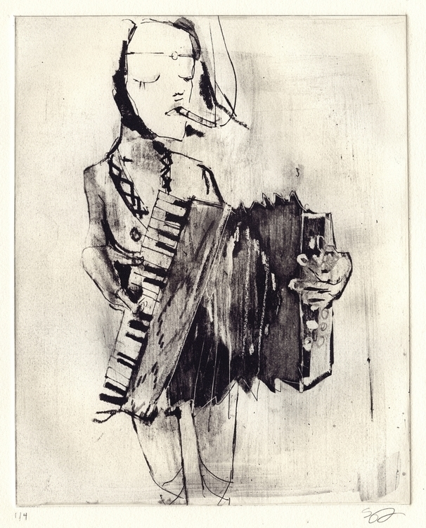 Accordion Player - illustration - elaramari | ello