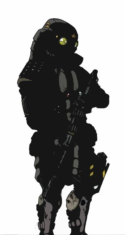 illustration, soldier, rifle - farsa | ello