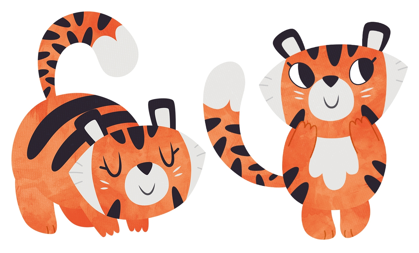 Chubby Tiger - tiger, cute, character - clairestamper | ello