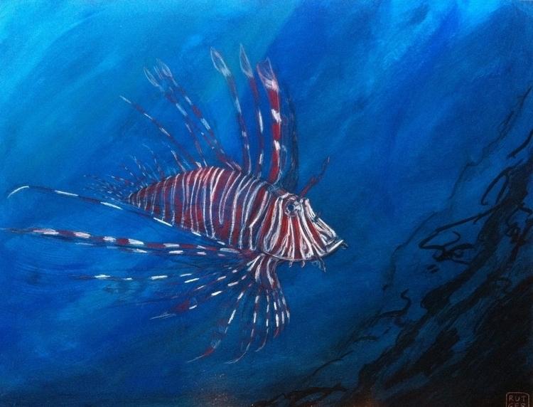 Lion fish - lionfish, painting - rutgervandeelen | ello