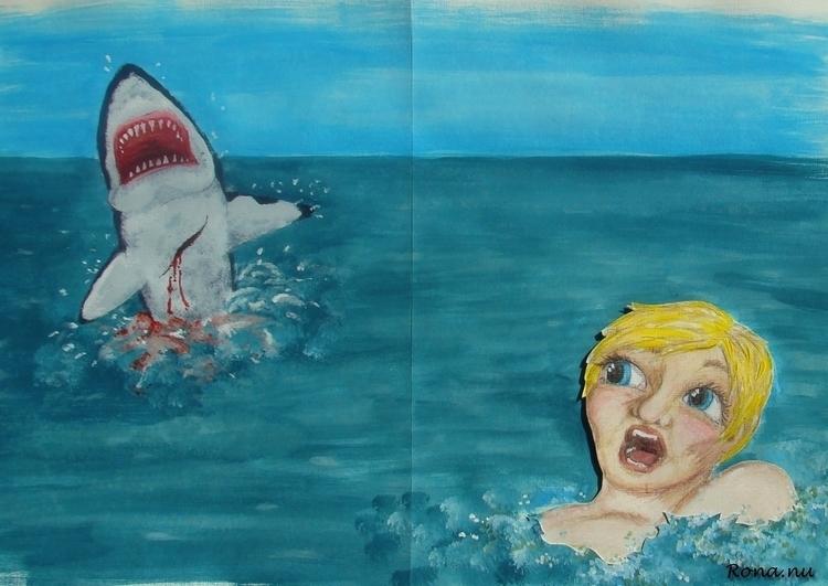 Sterk verhaal: gewonde haai - children'sillustration - rona-5961 | ello