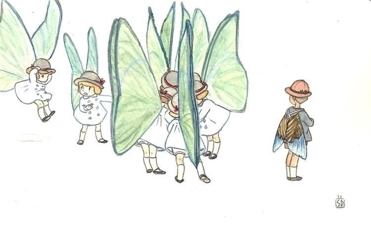 Butterfly Academy schoolgirls - illustration - serenedaoud | ello