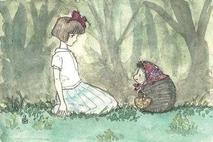 Mother Hedgehog young girl - illustration - serenedaoud | ello