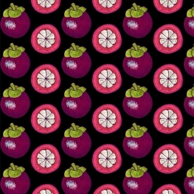 strange fruits - mangosteen - pattern - stephaniekubo-8873 | ello