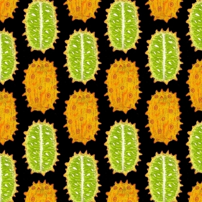 strange fruits - kiwano - pattern - stephaniekubo-8873 | ello