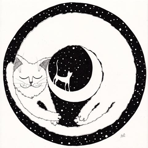 Dreaming - cat, cartoon, illustration - nikaq | ello