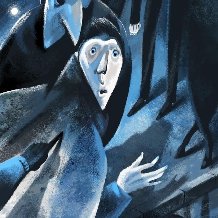 -Night walk - illustration, artwork - marina_sav | ello