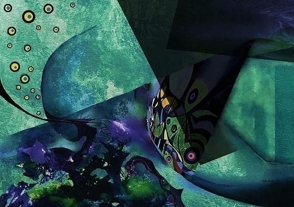 bluegreen scenery - painting, digitalart - wolfgangschweizer | ello