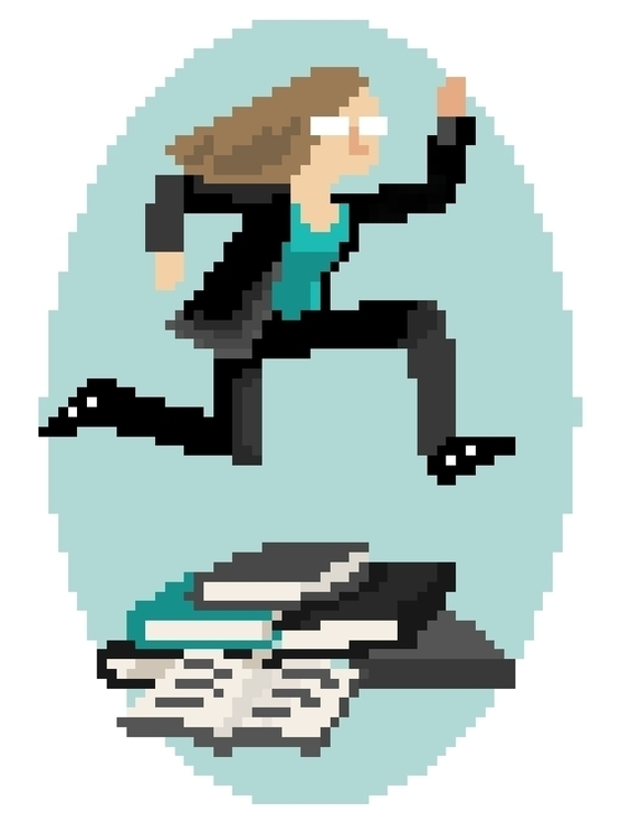 Pixel art grad school, school - pixelart - teenyrobots | ello
