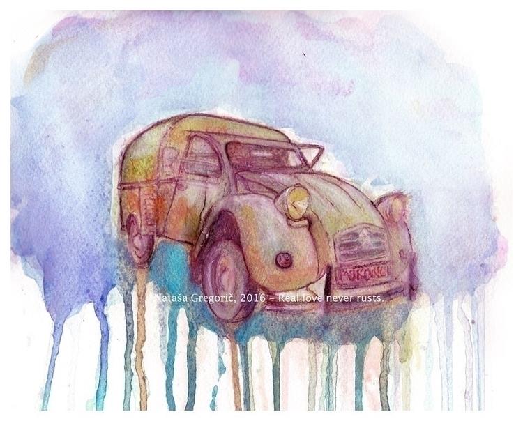Real love rusts. Watercolor pen - zoya2016 | ello