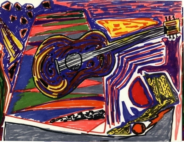 Felt Guitar - painting - rahula-8043 | ello