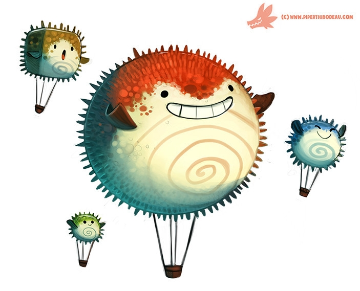 Daily Paint Pufferfish Air Ball - piperthibodeau | ello