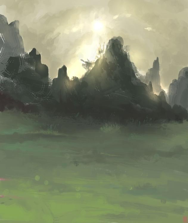landscape, sketch, digitalart - arthurahoy | ello