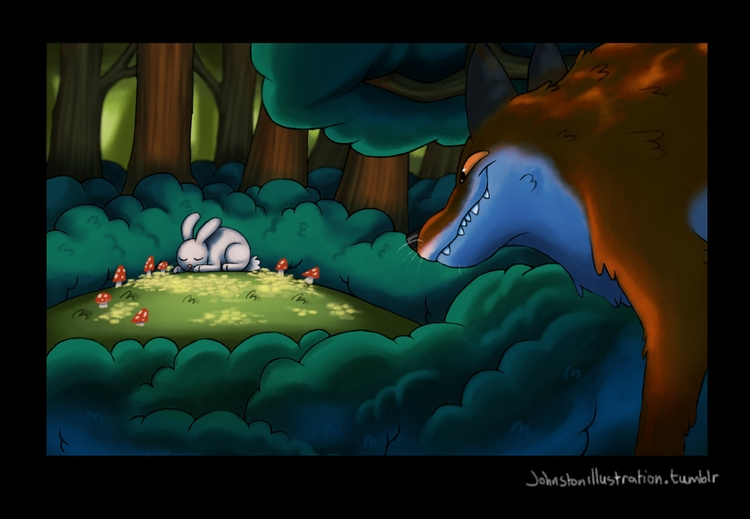 fiendish fox eyeing lunch - illustration - alexjohnston   ello
