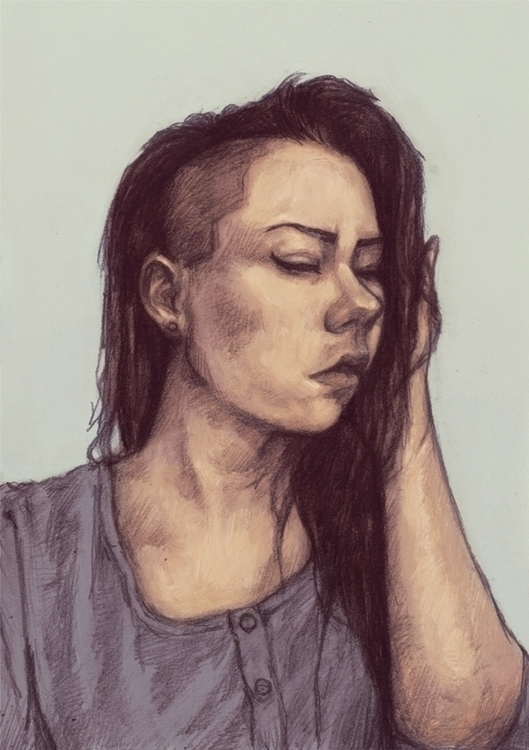 undercut, girl, portrait, mixedmedia - tomsoftley | ello